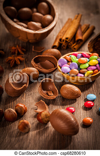 Sweet chocolate eggs and smarties for Easter - csp68280610