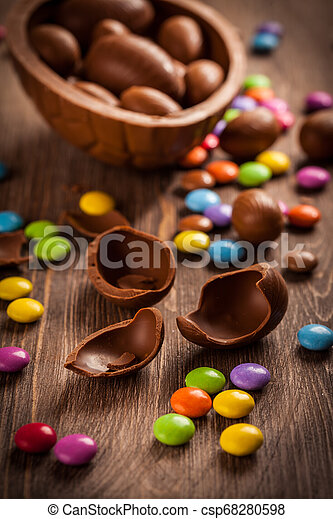 Sweet chocolate eggs and smarties for Easter - csp68280598