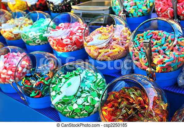 sweet colorful candy in shop