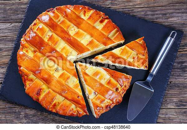 sweet cottage cheese pie, top view - csp48138640