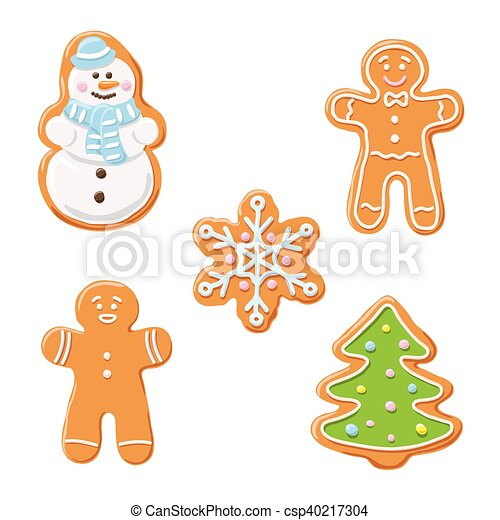 Sweet Decorated New Year Gingerbread Cookies Icons Set Christmas Tree And Snowflake Ginger Man Snowman