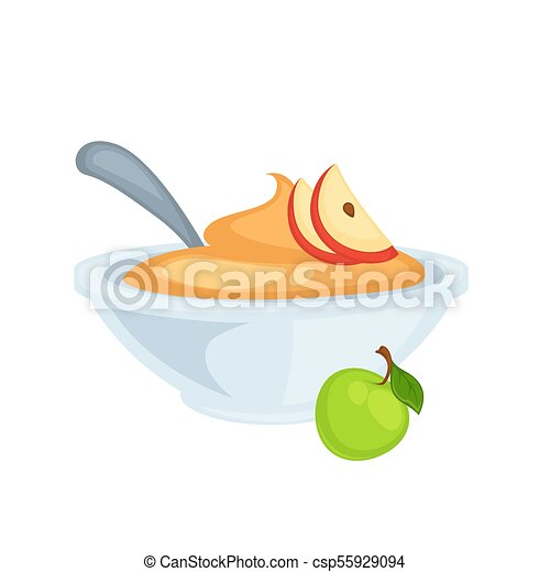 sweet delicious applesauce in deep bowl with spoon puree made of rh canstockphoto com Snack Clip Art applesauce clipart free