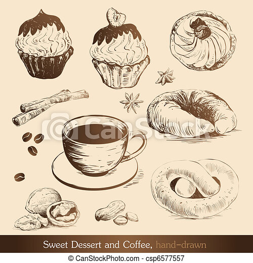 Sweet Dessert and Coffee - csp6577557
