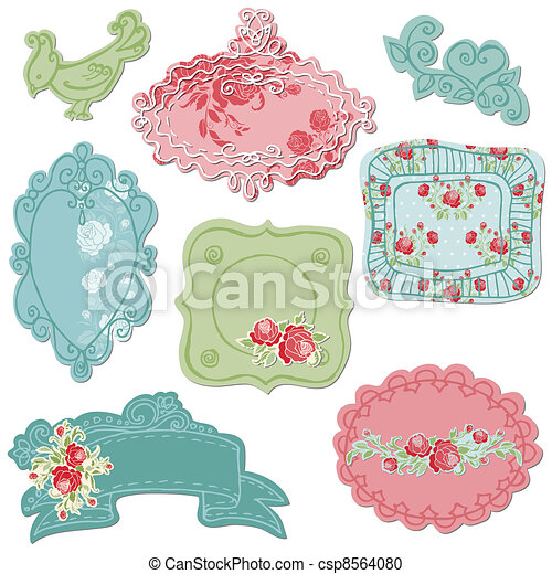 Sweet Doodle Frames with Birds and Flower Elements - in vector - csp8564080