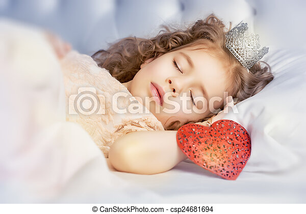 Sweet Dream Little Girl Sleeps In The Bedroom