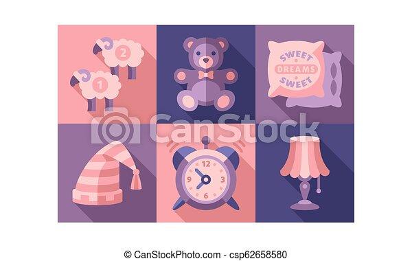 Sweet dreams icons set, sleep time elements, good night vector Illustration - csp62658580