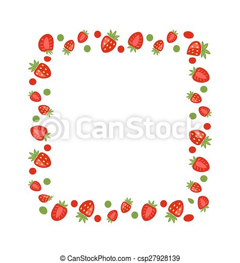Illustration sweet frame made of strawberry with copy space for your ...