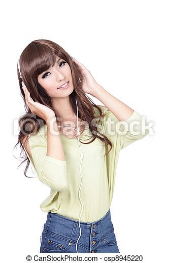 Sweet girl happy listen music with smile face - csp8945220
