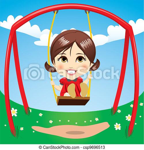 Sweet Girl Swinging - csp9696513