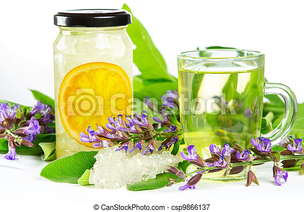 Sweet herbal tea and naturopathy - csp9866137