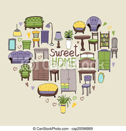 Sweet Home Concept With Various Home Accessories And Furniture Icons Awesome Home Sweet Home Decorative Accessories
