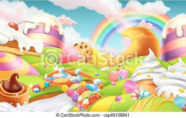 Sweet landscape. Candy land. Candies and milk river 3d vector background - csp49108841
