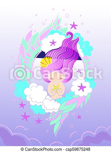 Sweet little mermaid with starfish and long violet hair. Card, print, poster, notebook, cover. - csp59875248