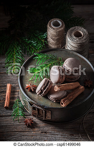 Sweet macaroons with chocolate and cinnamon for Christmas - csp61499046