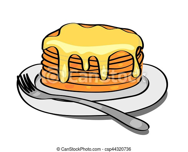 sweet pancakes with honey on the plate vector vectors search rh canstockphoto com pancake clip art black and white pancake clip art black and white