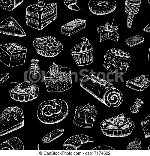 Sweet pastries on chalkboard - csp17174622
