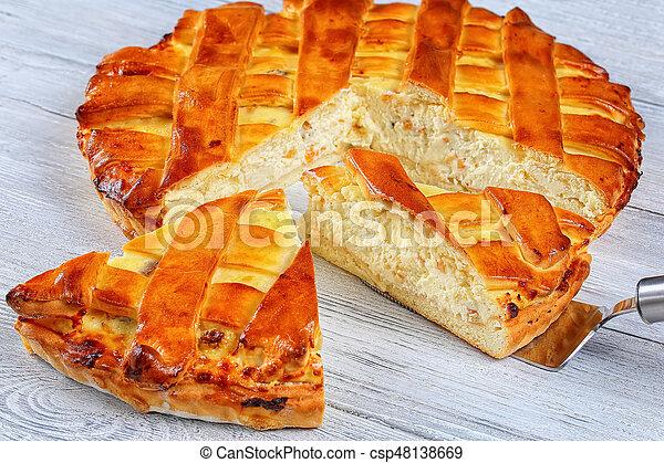 sweet pie of organic cottage cheese - csp48138669