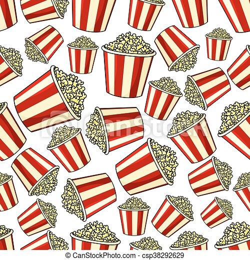 Sweet popcorn seamless pattern background - csp38292629