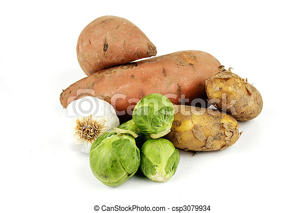 Sweet Potato with Sprouts, Garlic and Potatoes - csp3079934