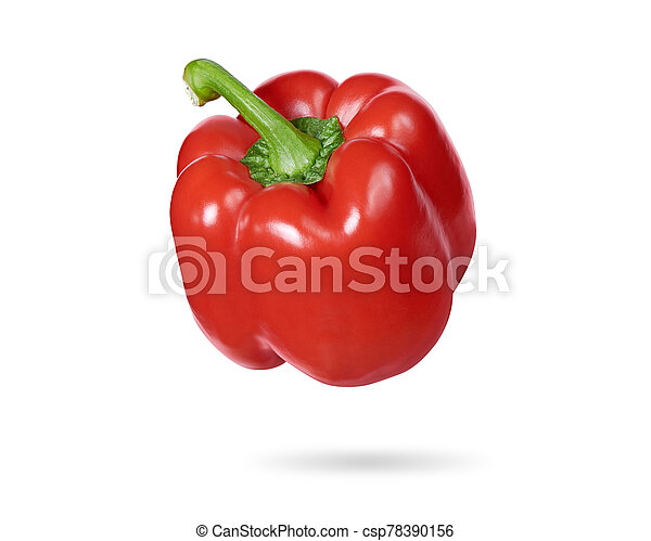 Sweet red pepper isolated on white background - csp78390156