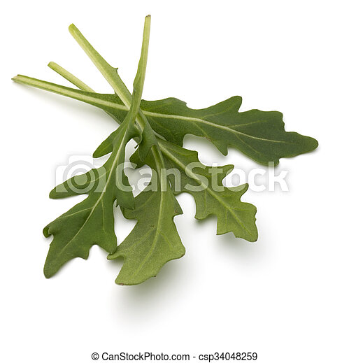 Sweet rucola salad or rocket lettuce leaves isolated on white background - csp34048259