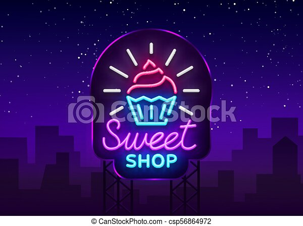 Sweet Shop logo is neon style  Candy Shop neon sign, banner light, bright  neon night sweets advertising  Design template for your projects  Vector