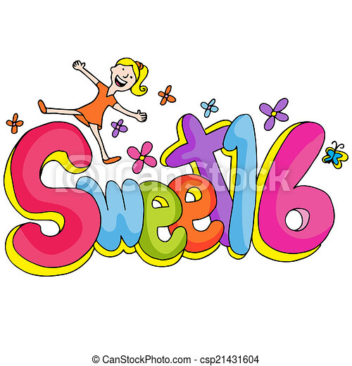 sweet sixteen clip art and stock illustrations 150 sweet sixteen rh canstockphoto com  sweet sixteen birthday clipart