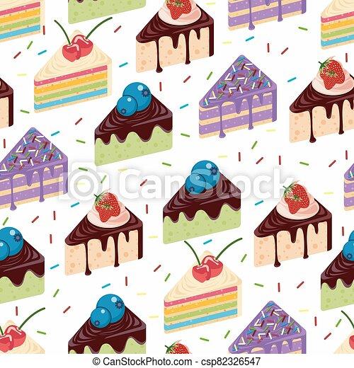 Sweet Snack Seamless Pattern Sponge Cake Wallpaper Repeatable - csp82326547