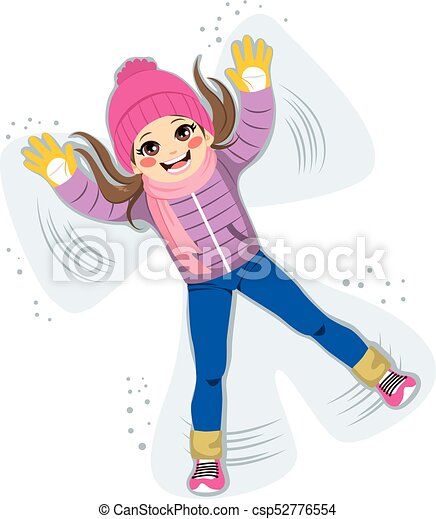 sweet snow angel sweet young girl playing and making snow angel rh canstockphoto com Playing in the Snow Clip Art Snow Family