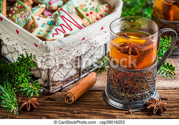 Sweet tea and gingerbread cookies for Christmas - csp39016253