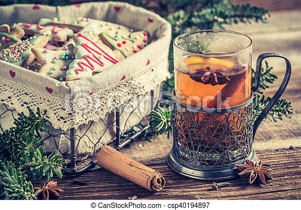 Sweet tea and gingerbread cookies for Christmas - csp40194897