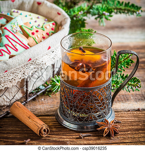 Sweet tea and gingerbread for Christmas - csp39016235