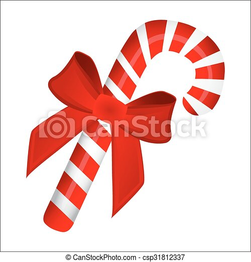 sweet traditional christmas candy cane on white background csp31812337