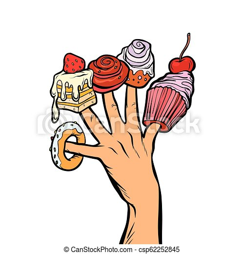 3366d313d135 Sweets cake cupcake donut marshmallow on fingers. pop art retro ...