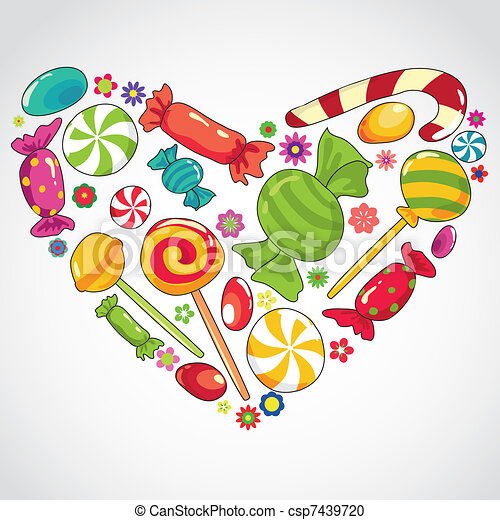 Sweets candy heart. Vector illustartion of abstract sweets ...