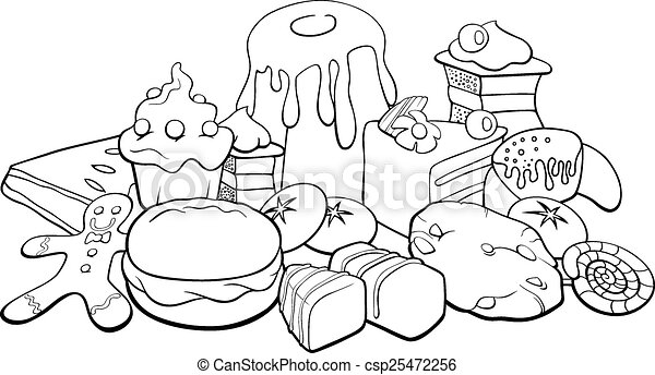 Sweets for coloring book. Black and white cartoon ...