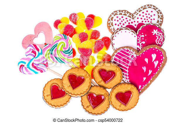 Sweets, gingerbread, lollipops, cookies for Valentine's Day - csp54000722