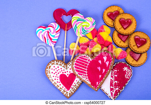 Sweets, gingerbread, lollipops, cookies for Valentine's Day - csp54000727