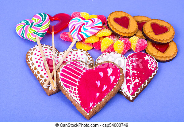Sweets, gingerbread, lollipops, cookies for Valentine's Day - csp54000749