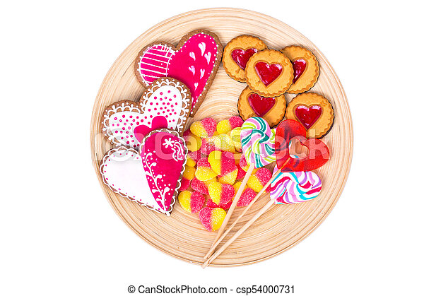 Sweets, gingerbread, lollipops, cookies for Valentine's Day - csp54000731