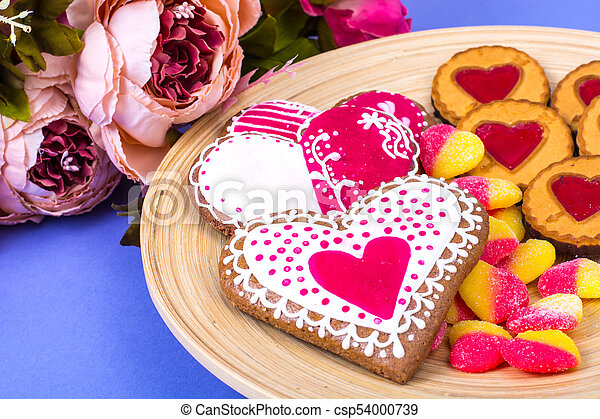 Sweets, gingerbread, lollipops, cookies for Valentine's Day - csp54000739