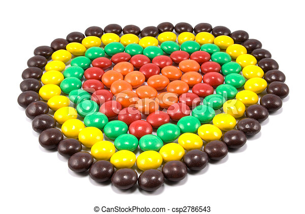 Sweets in multi-coloured chocolate glaze in the form of heart - csp2786543