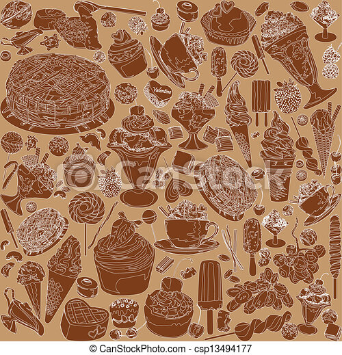 sweets seamless background - csp13494177