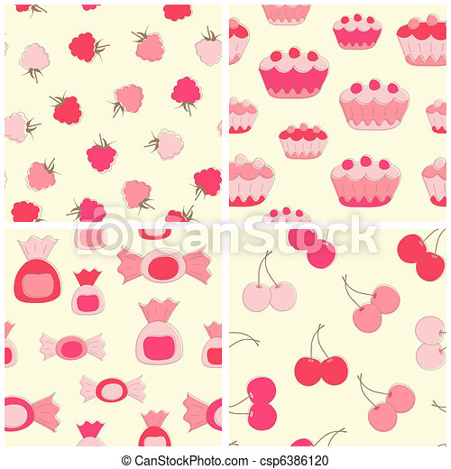 Sweets seamless backgrounds. - csp6386120