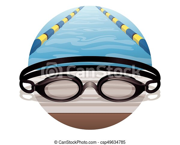swim goggles black in circle - csp49634785