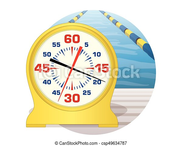 swim pace clock at pool in a circle - csp49634787