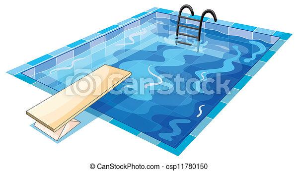 Swiming Piscine Piscine Blanc Swiming Fond Illustration