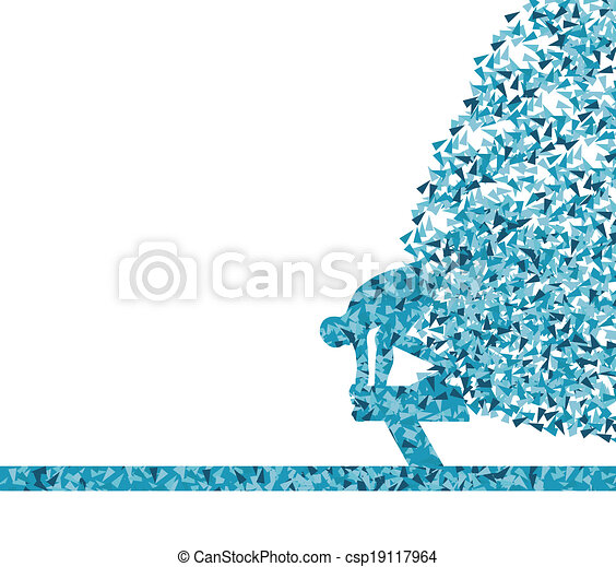 Swimmer jump abstract background vector - csp19117964