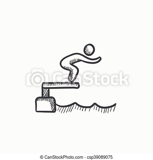 swimmer jumping in pool sketch icon swimmer jumping from starting