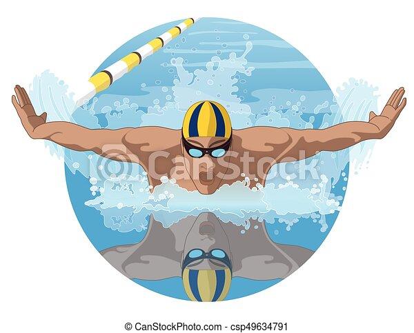 swimmer male in butterfly stroke - csp49634791